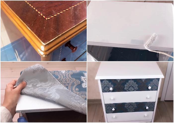 С минимальными затратами совсем потрепанную тумбочку превратили в стильный предмет мебели. | Фото: youtube.com/ © SULTANIN OYUNCAK ATOLYESI.