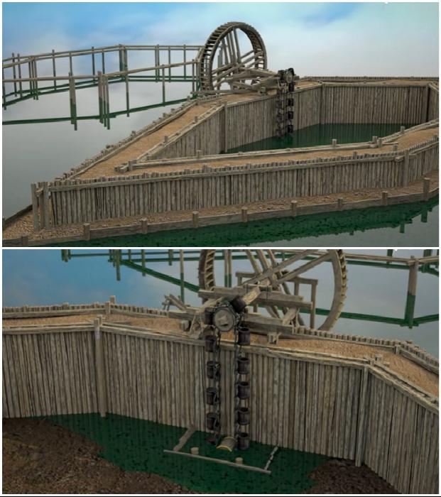 Средневековый способ выкачки воды и создания опор моста (3D-анимация). © praha-archeologicka.cz.