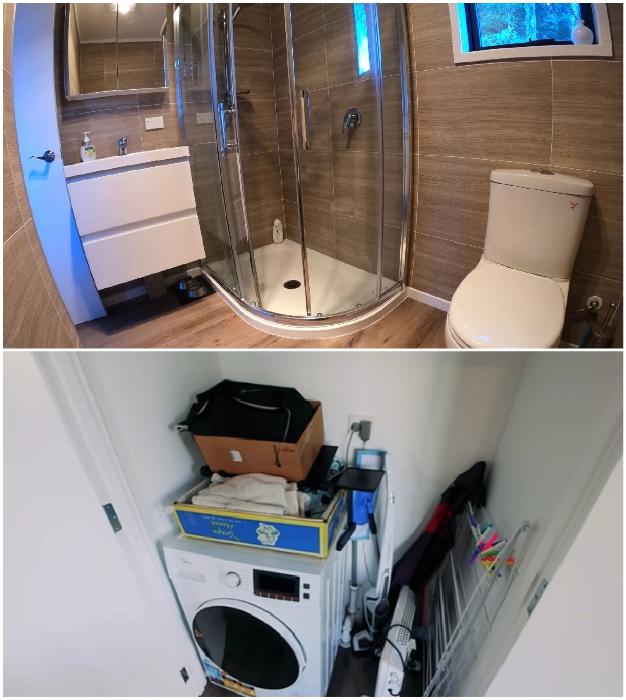 Перед ванной комнатой был создан встроенный шкаф, в котором спрятана стиральная машина и вещи. © IQ Container Homes.