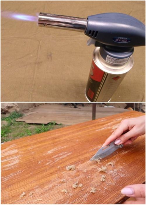 С помощью горелки и ножа очень быстро удалось снять толстый слой эпоксидной смолы. | Фото: youtube.com.