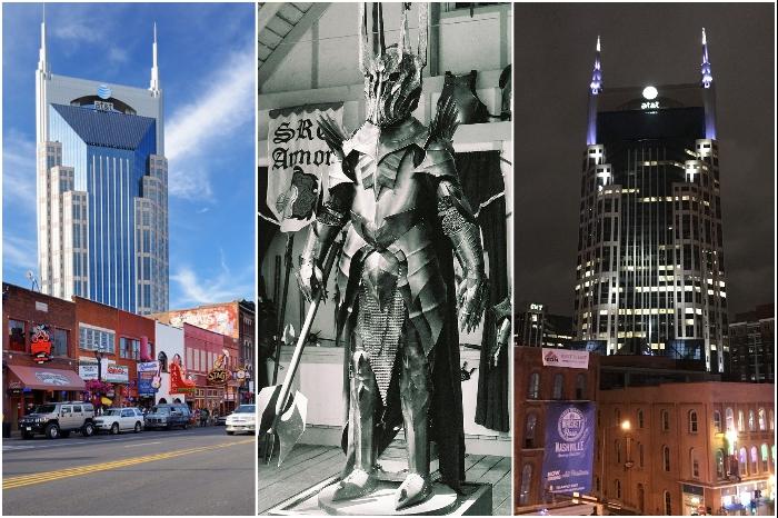 В очертаниях небоскреба AT & T Building многие видят злого гения Саурона (фото здания и кадр из фильма «Властелин колец»). | Фото: businessinsider.com/ en.wikipedia.org.