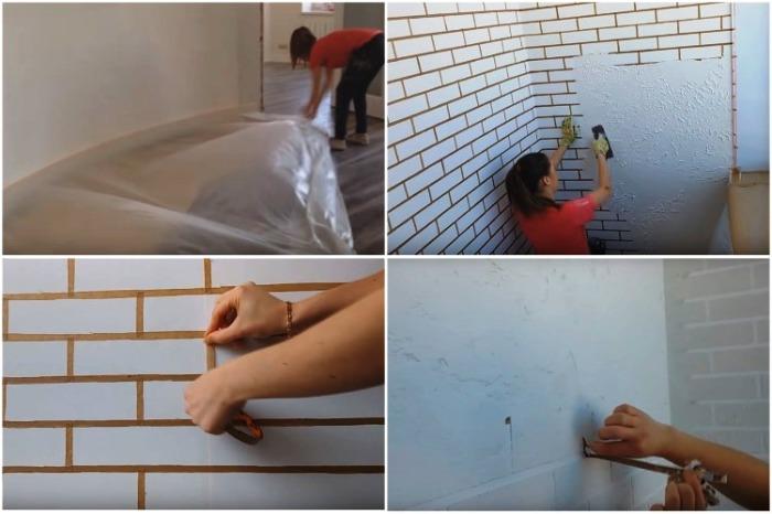 Сделать декоративную штукатурку под кирпич смогут даже дилетанты или хрупкие девушки. | Фото: youtube.com/ Анастасия Зайцева.