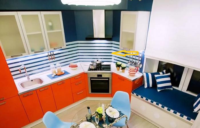 Для создания нового интерьера была изменена геометрия помещения.