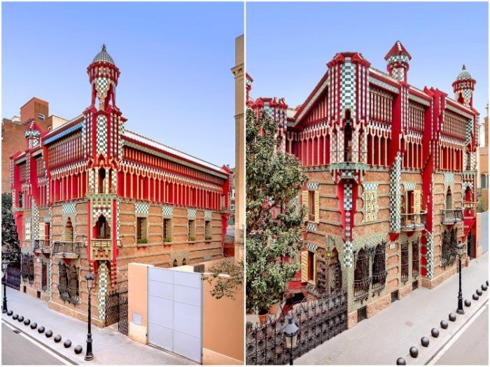 Восточные башни украшают фасад здания (Casa Vicens, Барселона). | Фото: mymodernmet.com/ David Cardelus.