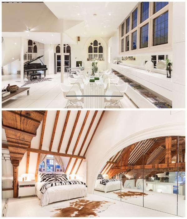 Белоснежные стены, потолки и даже полы идеально гармонируют со старинными деревянными балками (Великобритания). | Фото: vagrantpress.dev.