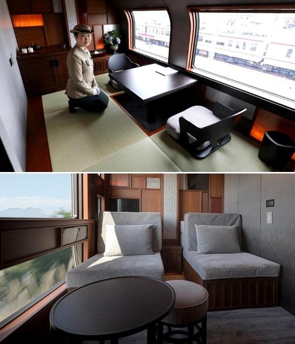Поезд состоит из 10 вагонов, в которых обустроено 17 номеров (Shiki-shima). | Фото: archidom.ru.