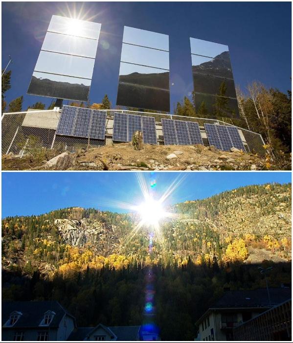 Жители самого темного города на планете теперь могут видеть солнце благодаря ...зеркалам (Rjukan, Норвегия). | Фото: rjukanadmini.com/ nrk.no.