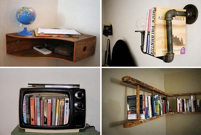 Самые обычные предметы станут оригинальной основой для создания полок. | Фото: pinterest.com.
