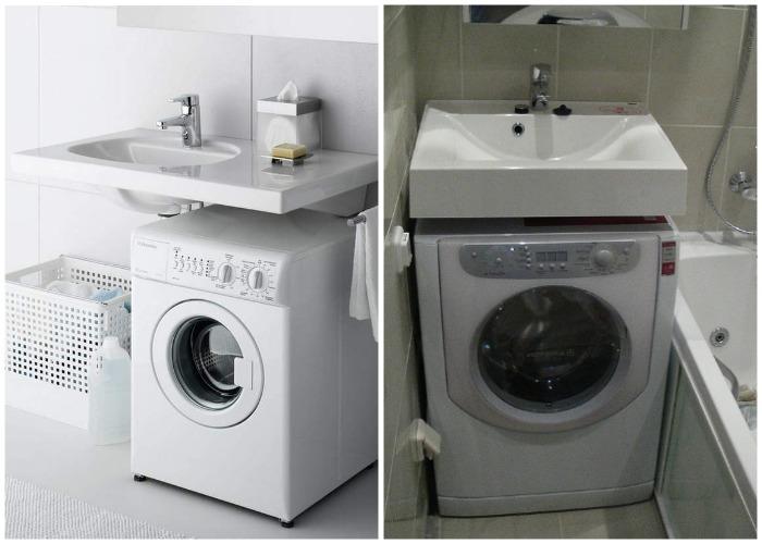 Стиральную машинку можно разместить и под умывальником.