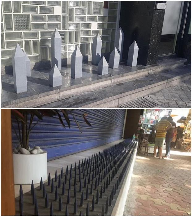 Вот так благополучные парижане и состоятельные индусы в Мумбаи решили оградить свои магазины от того, чтобы не устроили перед ними ночлежку.