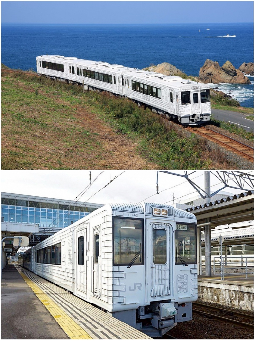 Туристический поезд «Tohoku Emotion» отличается белоснежным дизайном и необычной формой вагонов. | Фото: visitjapan.ru/ commons.wikimedia.org.