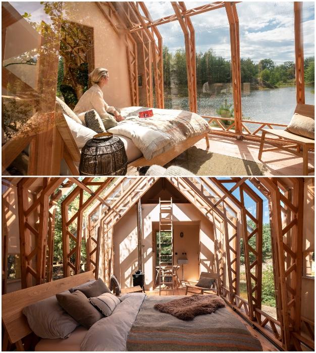 В динамичном коттедже оформили две спальни, одна из которых расположена над кухней (Cabin ANNA).