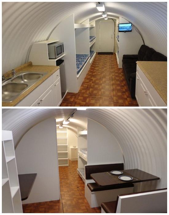 В подземном бункере есть полноценная кухня и столовая зона (Бомбоубежище Atlas).