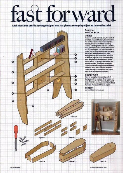 На обороте латунной пластины можно найти пошаговую инструкцию по сборке гроба. | Фото: boredpanda.com.