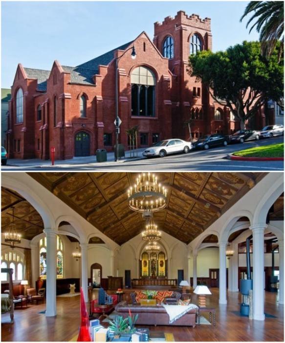 При реорганизации готической церкви полностью сохранили ее первозданный вид (Сан-Франциско, США). | Фото: designrulz.com.
