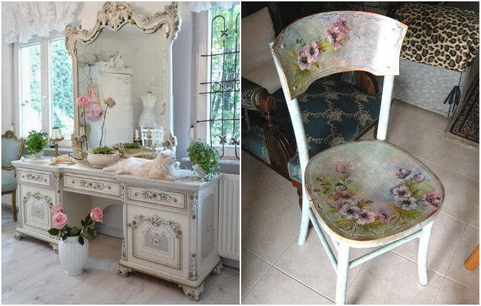 Довольно оригинально смотрится мебель, оформленная с помощью техники декупаж. | Фото: tumblrgallery.com/ designstilno.ru.