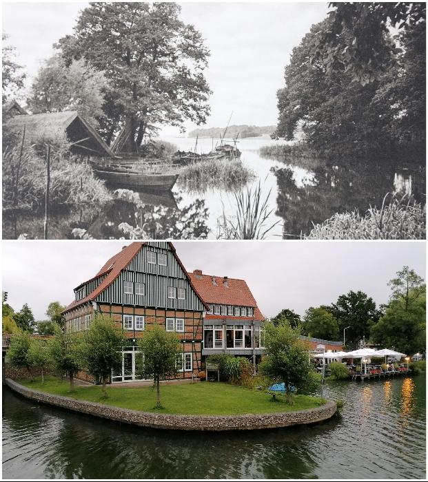 Изменения природных зон Ratzeburger See в Шлезвиг-Гольштейне впечатляют больше (1924 и 2020 г., Германия). © Kurt Hielscher / © Casper Molenaar.
