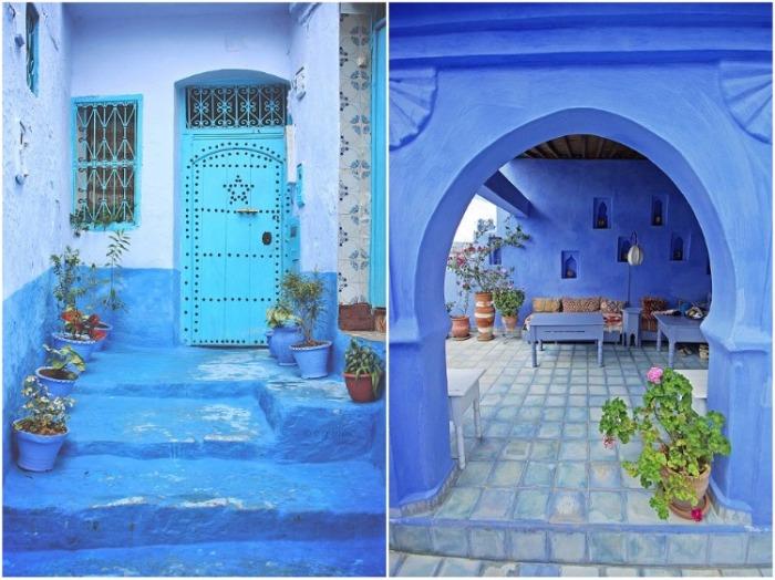 Каждый владелец синего дома до сих пор поддерживает традицию окрашивания не только здания, но и части улицы, где живет его семья (Шефшауэн, Марокко). | Фото: udivitelno.com.