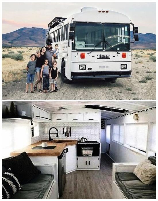 Супруги с 4-мя детьми поменяли огромный особняк на жизнь в этом переоборудованном автобусе. | Фото: mynet.com.