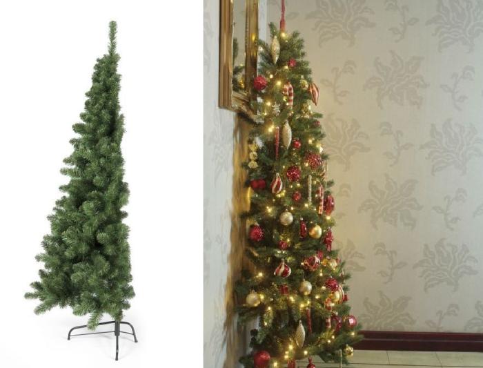 Половинчатая елка Against The Wall Christmas Tree для особо ленивых идет в комплекте с 350 лампочками.
