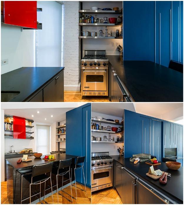 Кухонная зона в квартире-трансформере (Unfolding apartment, Манхэттен).