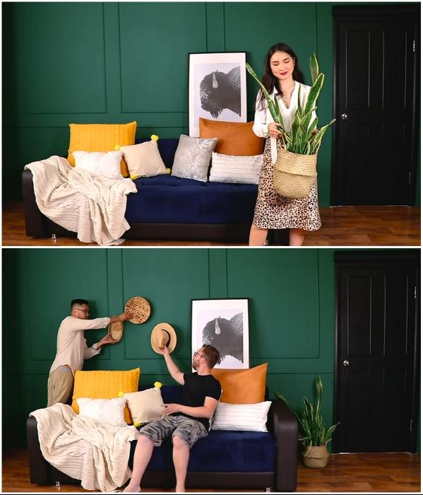 Нестандартные декоративные элементы привнесли особую атмосферу с интерьер комнаты. | Фото: youtube.com/ © Fancy smth.