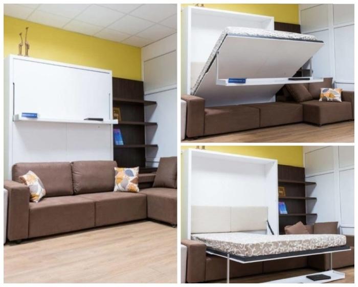 Такой уголок поможет организовать сразу несколько зон в маленькой квартире. | Фото: remstroy-group.ru.
