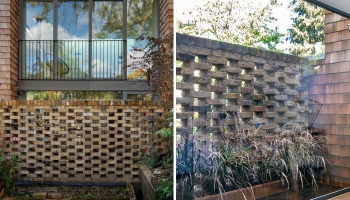 Перфорированная кирпичная озелененная стена создает уединенную обстановку на первом этаже дома (Gouse, Лондон). | Фото: disenoyucatan.com.