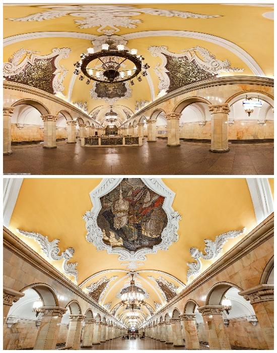 Станция метрополитена «Комсомольская» – самая помпезная и апофеозная станция сталинского ампира (Москва, Россия).