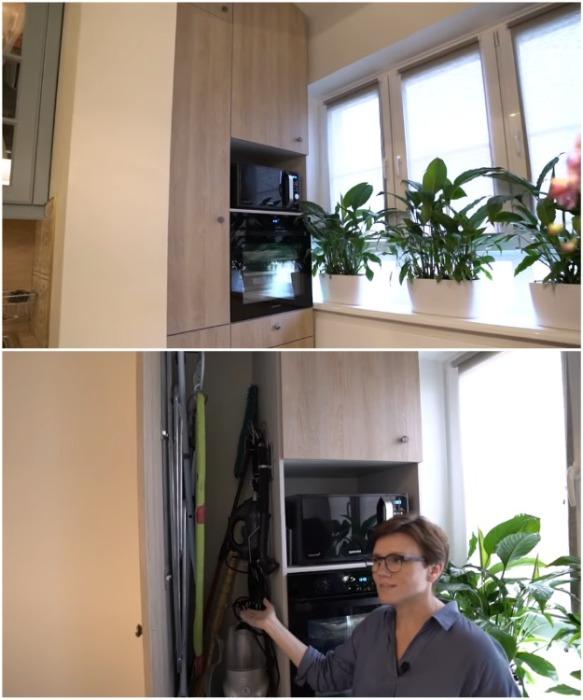 На лоджии установили вместительный шкаф, что позволило пристроить бытовую технику, нужные в хозяйстве вещи и продукты питания. | Фото: youtube.com/ INMYROOM TV.