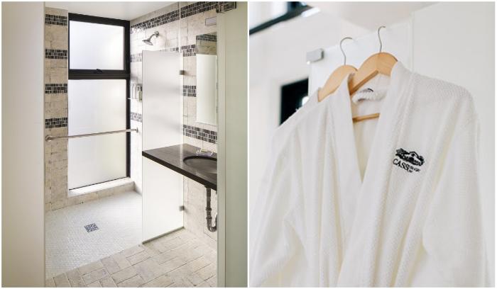 Благоустроенная ванная комната с банными принадлежностями ждет гостей («Geneseo Inn», Калифорния). | Фото: casswines.com/ newatlas.com.