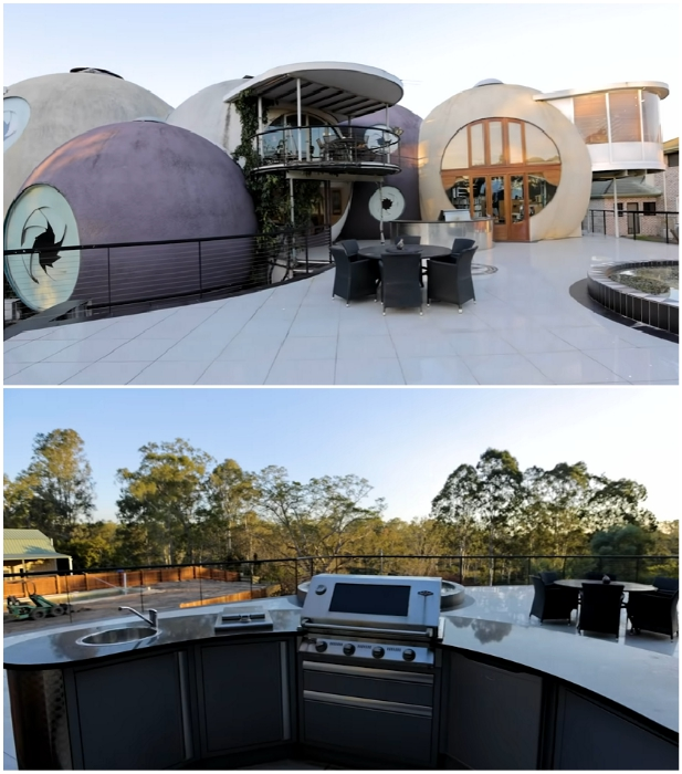Зона отдыха и зона барбекю на одной из открытых террас «Bubble House» (Ipswich, Австралия). | Фото: youtube.com/ © First National Real Estate Action Realty Ipswich.