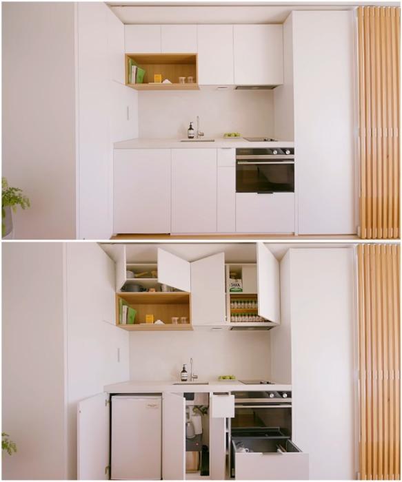 Кухонный гарнитур продуман до мелочей и заменяет полноценную кухню («Boneca», Сидней). | Фото: youtube.com/ NEVER TOO SMALL.