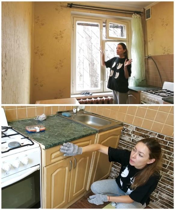 Анна решила снять старые обои и пленку МДФ с мебели.   Фото: youtube.com/ Anna_Studio.