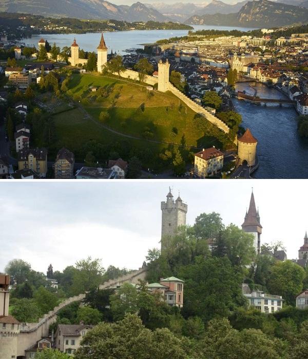 Средневековая крепостная стена Музеггмауэр (Люцерн, Швейцария). | Фото: knownway.com.