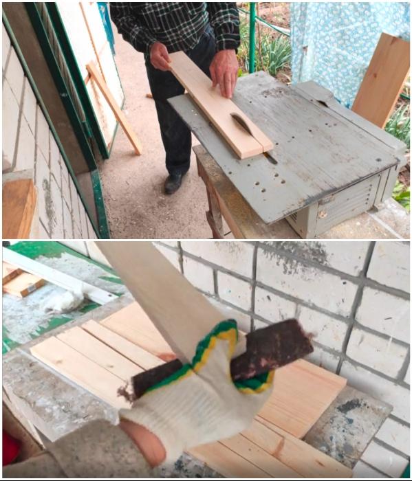 Каждую вырезанную деталь следует тщательно зашкурить. | Фото: youtube.com/ © Шебби-Шик.