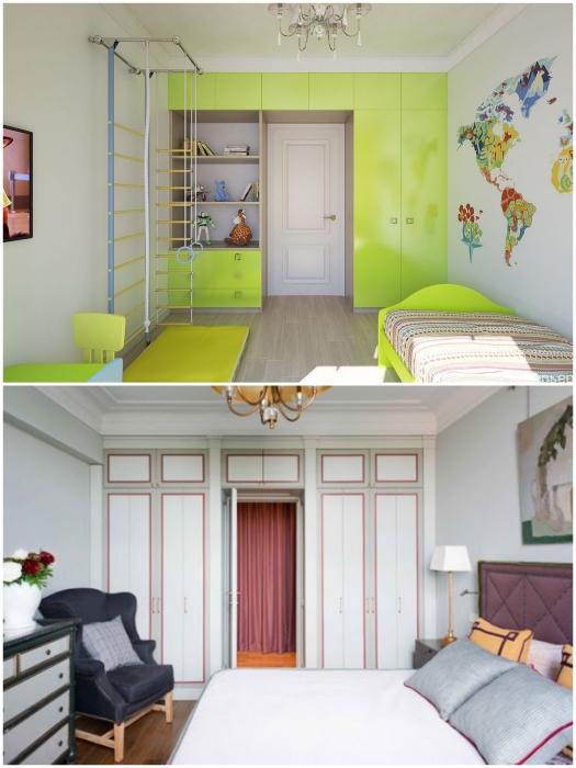Шкафы вокруг двери могут стать и дополнительным украшением спальни или детской.   Фото: infomebli.ru/ pinterest.com.
