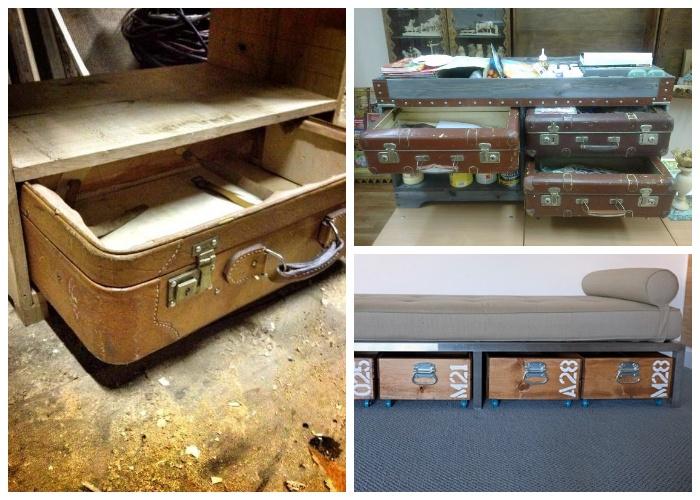 Выдвижные системы можно сделать с обычных ящиков и даже с чемоданов. | Фото: yandex.com.