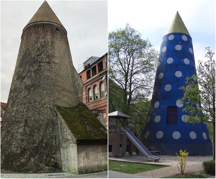 До сих пор на территории Германии можно увидеть странные сооружения, которые раньше были бомбоубежищами («Winkelturme»). | Фото: twipu.com/ twitter.com.