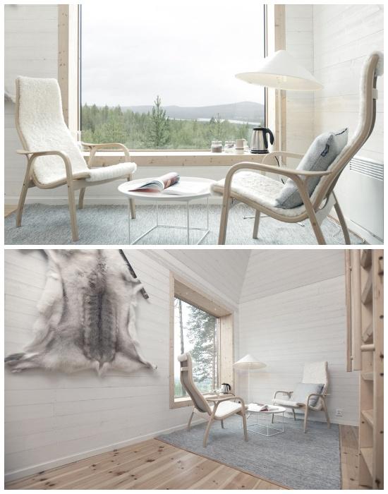 Минимализм и умиротворение – главная концепция в дизайне номера «Blue Cone» (отель Treehotel, Швеция). | Фото: cpykami.ru.