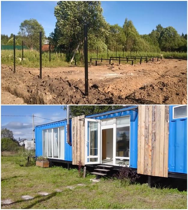 Дом установлен на качественном свайном фундаменте, который поможет избежать просадки или подтоплений («Небанальный дачный домик», Истра).