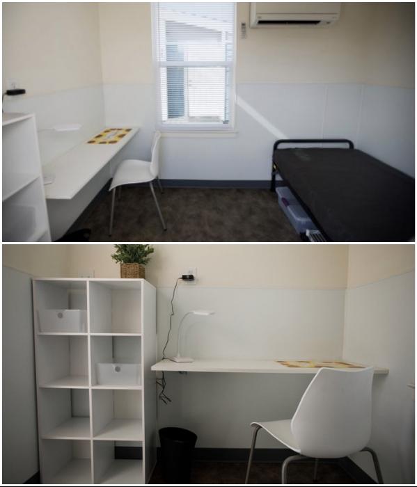 Несмотря на площадь 7 кв. м, в домике есть все необходимое для проживания одного человека («Bridge Housing Community», Сан-Хосе). | Фото: homefirstscc.org/ youtube.com, © KPIX CBS SF Bay Area.