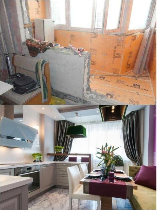 Объединение балкона и кухни - прекрасная возможность увеличить пространство, сделав его более светлым и просторным. | Фото: happymodern.ru.