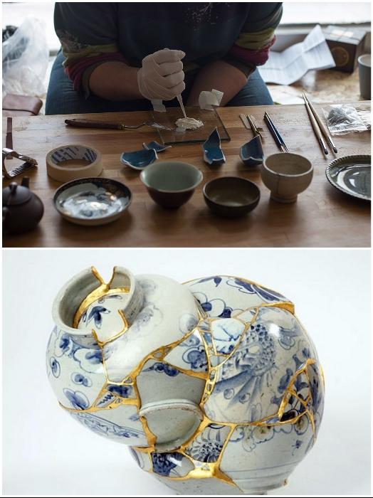 Чтобы посуда «жила» вечно, японские мастера особым способом ее склеивают. | Фото: pentad.ru/ pikabu.ru.