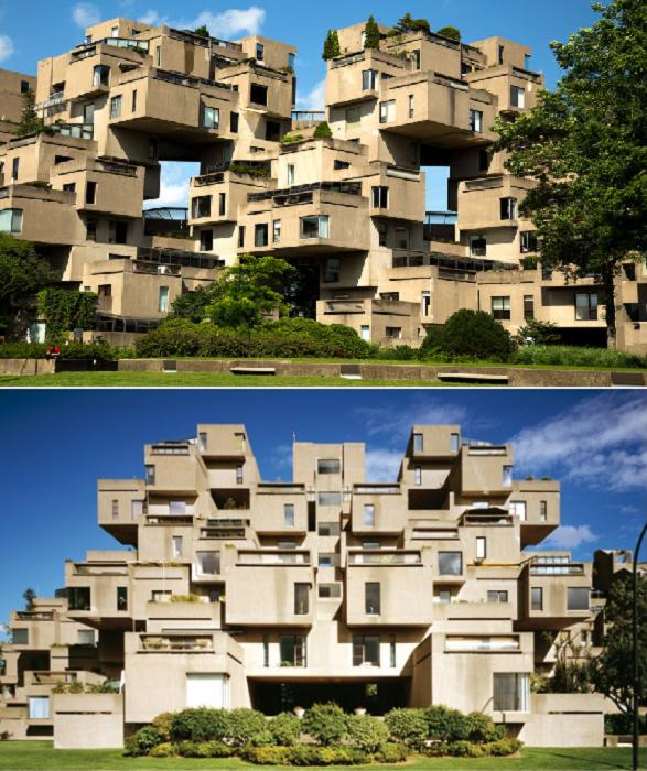 Жилой комплекс «Habitat 67» признан выдающимся памятником архитектуры (Монреаль, Канада). | Фото: housetribeca.com/ dicasdocanada.com.br.