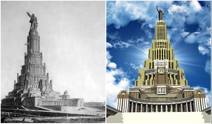 415-метровый Дворец Советов СССР должен был стать самым высоким сооружением мира (концепт, 1931 г.).