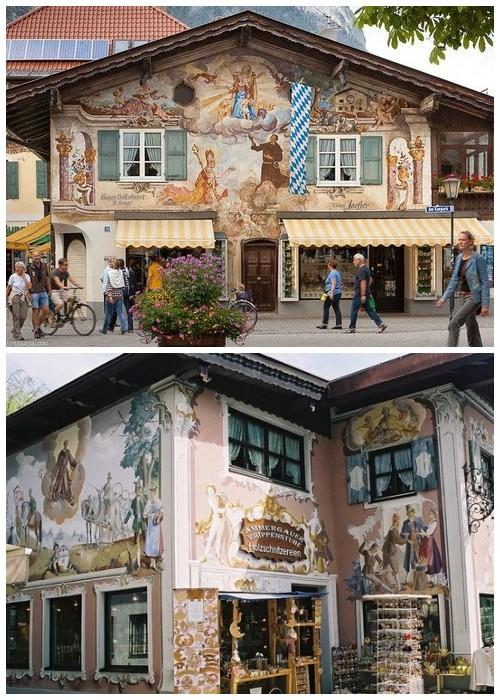 Многие дома украшают библейские мотивы (деревня Обераммергау, Германия).