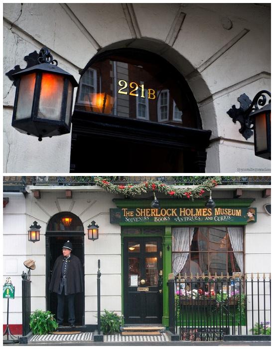 Дом-музей вымышленного героя Шерлока Холмса на Бейкер-стрит №239, ведь №221-б не существует (Лондон, Великобритания).