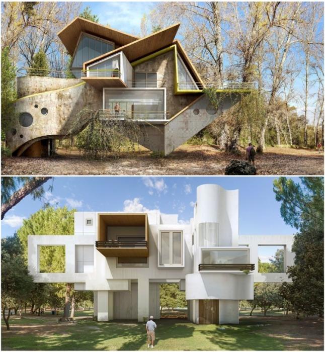 Такие фантастические дома смогут разнообразить унылую архитектуру современных городов и сел (серия дизайнов «Trans-action»). | Фото: samodelkino.info/ Dionisio Gonzalez.