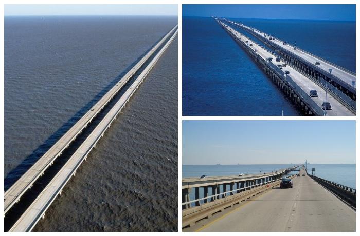 Мост-дамба через озеро Пончартрейн соединяет  Метайри и Мандевиль (США).